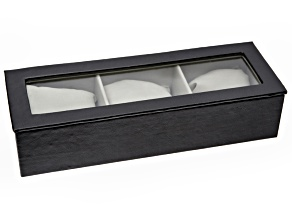 Black Faux Leather Watch Box Holds 3 Watches