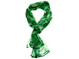 Brazilian Emerald Gemstone Print Chiffon Scarf Measures Approximately 18 inches By 67 inches