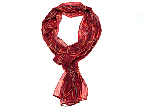 Agate Gemstone Print Chiffon Scarf Measures Approximately 18 inches By 67 inches