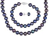 Womens 8mm Round Black Freshwater Pearl Sterling Silver Jewelry Set