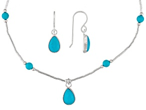 PRE-OWNED SOUTHWEST STYLE BY JTV™ TURQUOISE STERLING SILVER NECKLACE AND EARRINGS SET .