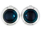 Pre-Owned Blue Amber Button Cover 12mm Round Set Of 2
