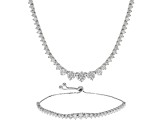 Pre-Owned Cubic Zirconia Sterling Silver Necklace And Bracelet Set 25.98ctw