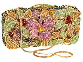 PRE-OWNED OFF PARK ® COLLECTION MULTICOLOR CRYSTAL GOLD TONE FLORAL CLUTCH