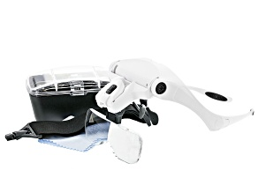 Pre-Owned Lighted Magnifier Eyeglasses Kit includes 5 Magnifier Lenses with 2 LED Lights