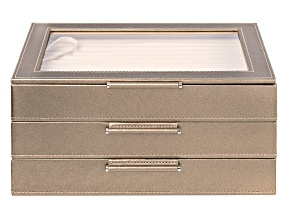 Pre-Owned WOLF Medium Jewelry Box with Window and LusterLoc (TM) in Pyrite Gold