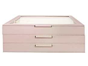 Pre-Owned WOLF Large 3-Tier Jewelry Box with Window and LusterLoc (TM) in Rose Gold