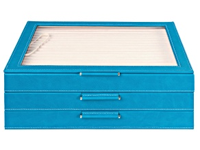 Pre-Owned WOLF Large Jewelry Box with Window and LusterLoc (TM) in Peacock Blue