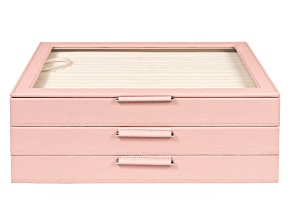 Pre-Owned WOLF Large Jewelry Box with Window and LusterLoc (TM) in Powder Rose
