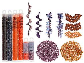 Pre-Owned Bead Embroidery Supply Kit in Pinks&Oranges incl Seed Beads, Delicas, Daggers, 3mm & 4mm B