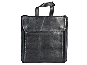 Pre-Owned Genuine Leather Fold-Out Jewelry Bag in Black