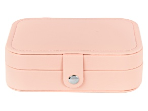 Pre-Owned Travel Jewelry Box in Blush Pink Faux Leather