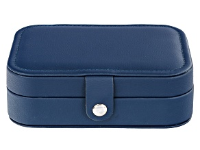 Pre-Owned Travel Jewelry Box in Navy Blue Faux Leather