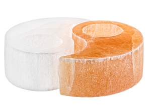 Pre-Owned Selenite and Pink Himalayan Salt Yin Yang Tealight Holders