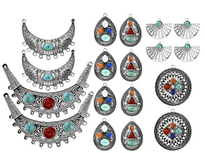 Pre-Owned Necklace & Earring Component Set in 6 Styles in Antique Silver Tone 18 Pieces Total