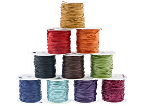 Pre-Owned 1 mm Wax Cord Spool Set of 10 in Assorted Colors appx 10 yards each