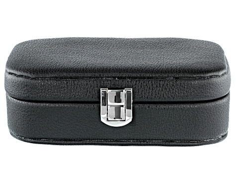 "Philip Whitney (TM) Faux Leather Travel Jewelry Box in Black 6"" x 4"" x 2"""