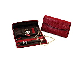 Red Leather Crocodile Jewelry Clutch W/Snap Closure