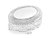 Silver-Plated Hinged Lid Oval Jewelry Box