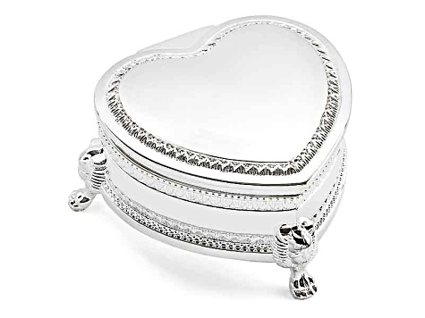 Silver-Plated Heart Footed Jewelry Box
