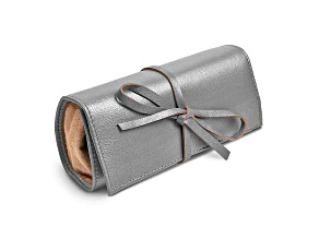 Silver Leather Tie Jewelry Roll
