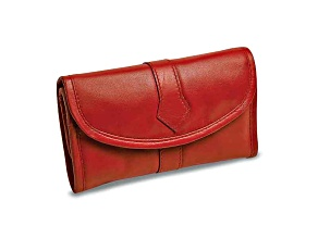 Red Leather Trifold Jewelry Clutch