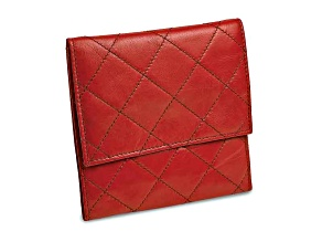 Red Leather Quilted Jewelry Folder