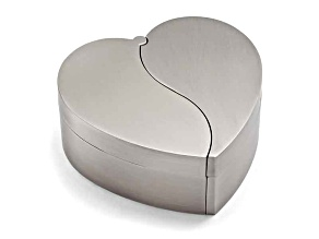 Pewter-Tone Finish Hinged Heart Jewelry Box