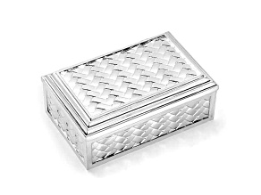 Silver-Plated Hinged Lid Rectangle Jewelry Box