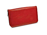 Red Leather Zip Around Jewelry Wallet