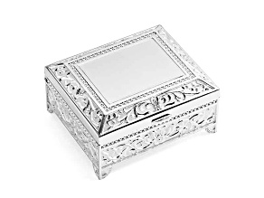 Silver-Plated Floral Square Jewelry Box