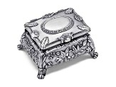 Pewter-Tone Finish Floral Jewelry Box
