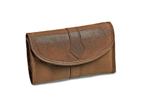 Tan Leather Trifold Jewelry Clutch