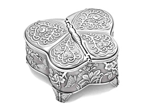 Pewter-Tone Finish Large Butterfly Jewelry Box