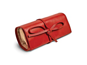 Red Leather Tie Jewelry Roll