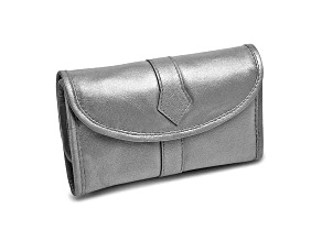 Silver Leather Trifold Jewelry Clutch