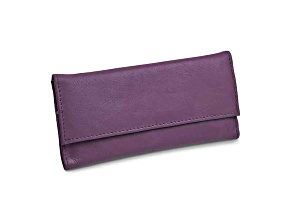 Purple Leather Slim Jewelry Wallet