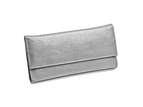 Silver Leather Slim Jewelry Wallet