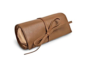 Tan Leather Tie Jewelry Roll