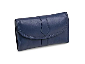 Blue Leather Trifold Jewelry Clutch