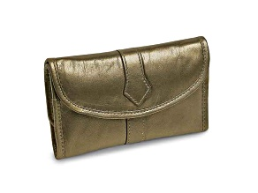 Pewter Leather Trifold Jewelry Clutch