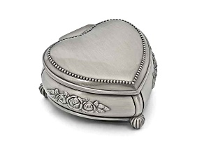Pewter-Tone Finish Heart Rose Jewelry Box