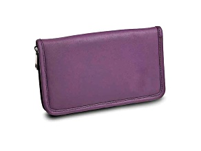 Purple Leather Zip Around Jewelry Wallet