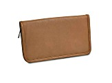 Tan Leather Zip Around Jewelry Wallet