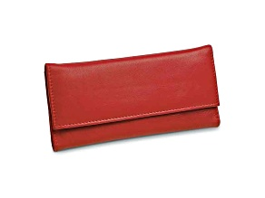Red Leather Slim Jewelry Wallet