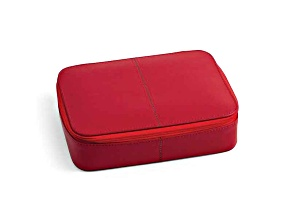 Red Leather Jewelry Box W/Zippered Closure