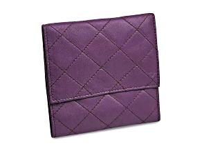 Purple Leather Quilted Jewelry Folder
