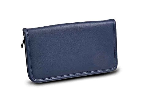 Blue Leather Zip Around Jewelry Wallet