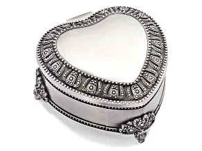 Pewter-Tone Finish Hinged Lid Heart Jewelry Box