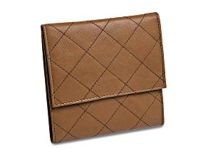 Tan Leather Quilted Jewelry Folder
